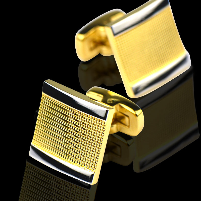 Men's Stainless Steel Gold Squares Cufflinks with Box - Amedeo Exclusive