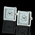 Men's Square Fucntioning Clocks Stainless Steel Cufflinks