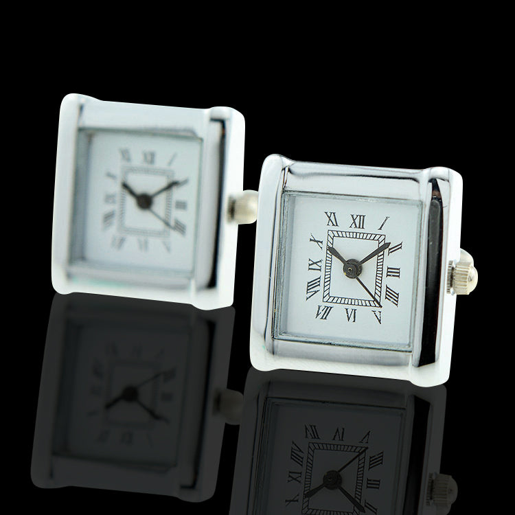 Men's Stainless Steel Square Functioning Clocks Cufflinks with Box - Amedeo Exclusive