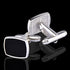 Men's Stainless Steel Silver Black Squares Cufflinks with Box