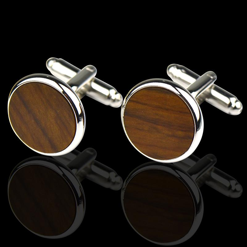 Men's Stainless Steel Brown on Silver Cufflinks with Box
