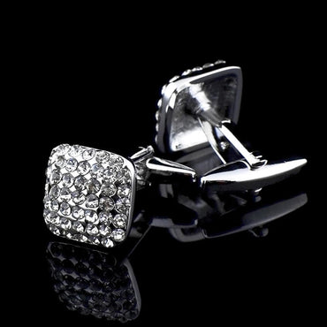 Men's Stainless Steel Square Silver Zirconia Cufflinks with Box - Amedeo Exclusive