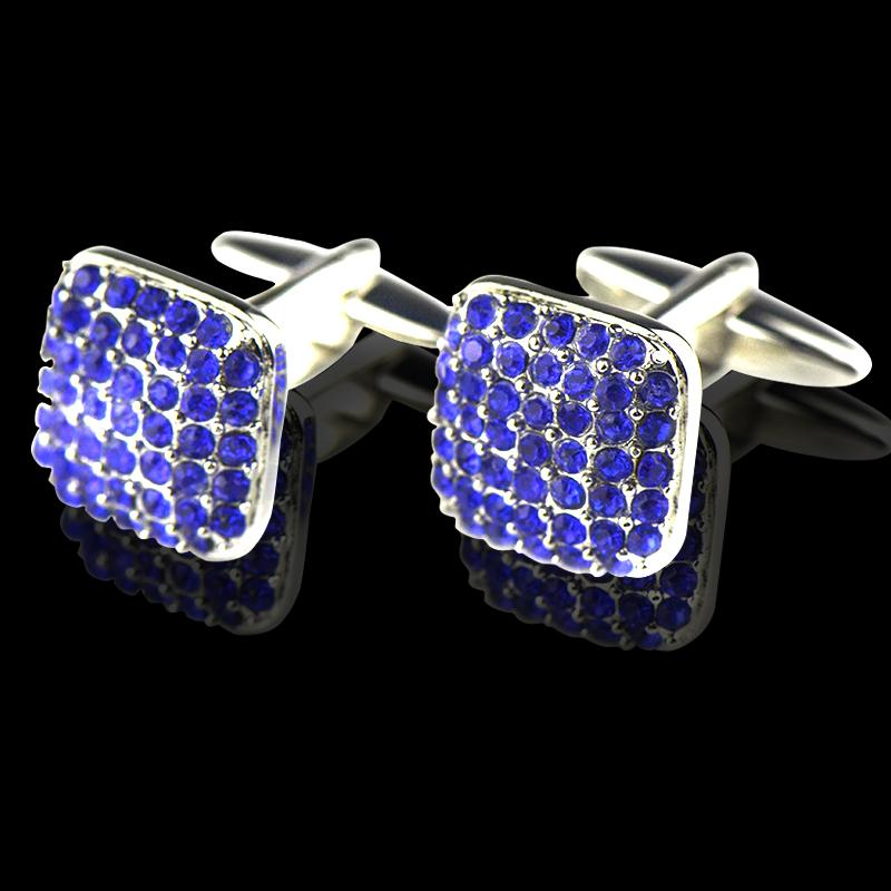 Men's Stainless Steel Square Blue Zirconia Cufflinks with Box - Amedeo Exclusive