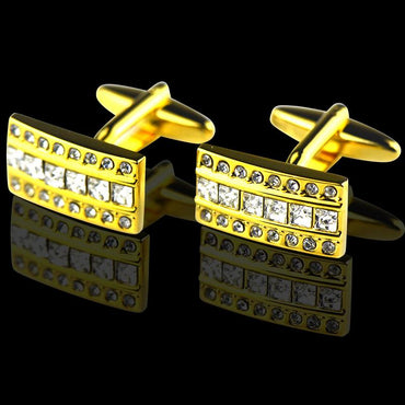 Men's Stainless Steel Gold Rectangle with Zirconia's Cufflinks with Box