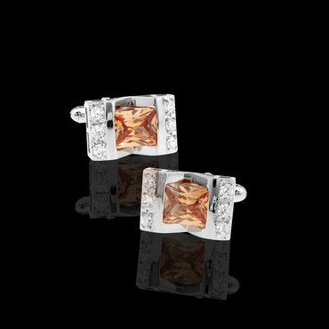 Men's Stainless Steel Square Zirconia with Orange Cufflinks with Box - Amedeo Exclusive