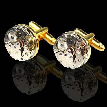 Men's Stainless Steel Functioning Movement Cufflinks with Box