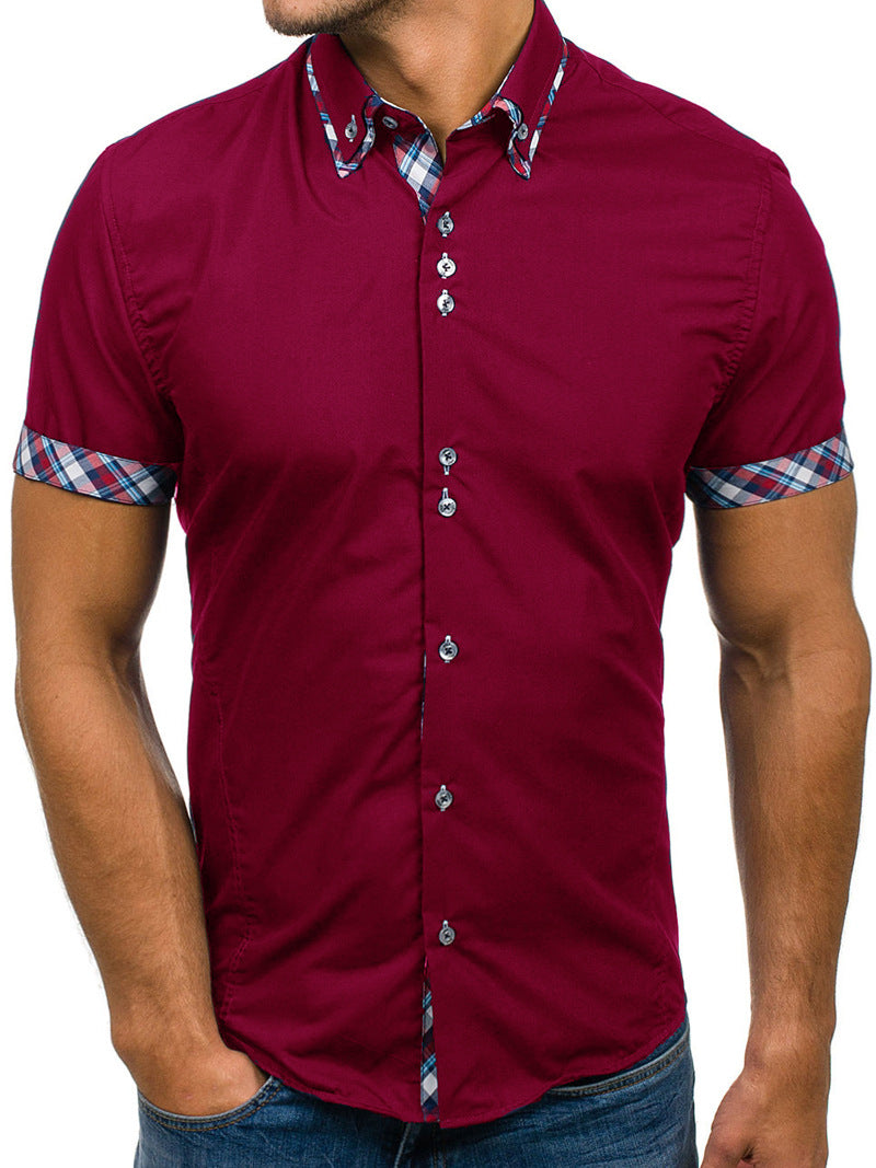 Men's Button down Tailor Fit Soft 100% Cotton Short Sleeve Dress Shirt Burgandy with Colorful Check casual And Formal - Amedeo Exclusive