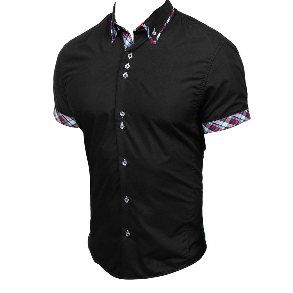 Men's Fashion Black with Colorful Check Slim Fit Dress Shirt