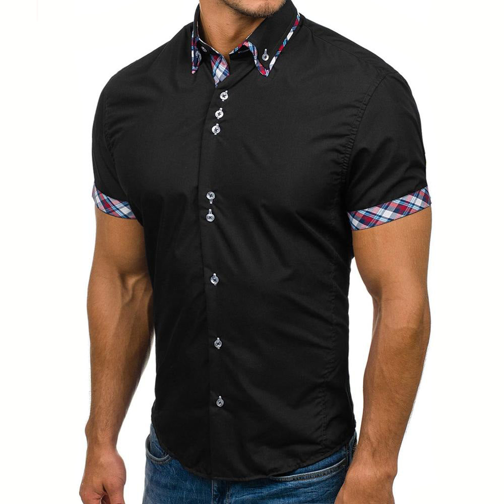 Men's Button down Tailor Fit Soft 100% Cotton Short Sleeve Dress Shirt Black with Colorful Check casual And Formal