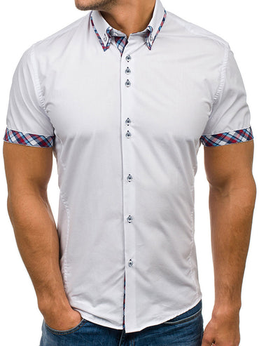 Men's Button down Tailor Fit Soft 100% Cotton Short Sleeve Dress Shirt  White with Colorful Checkcasual And Formal - Amedeo Exclusive