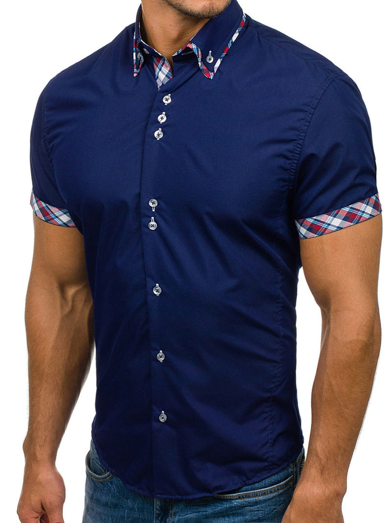 Men's Button down Tailor Fit Soft 100% Cotton Short Sleeve Dress Shirt Navy Blue with Colorful Check casual And Formal - Amedeo Exclusive