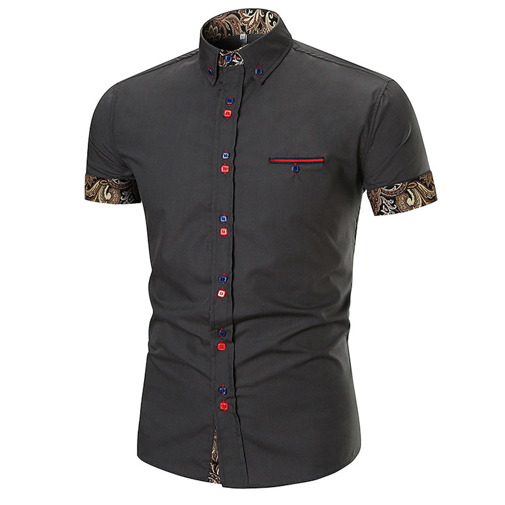 Men's Fashion Paisley Slim Fit Short Sleeve Dress Shirt