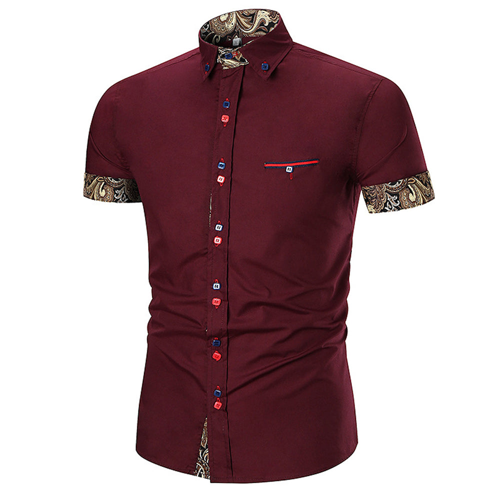 Men's Button down Tailor Fit Soft 100% Cotton Short Sleeve Dress Shirt Burgandy with Black Gold Paisley check casual And Formal - Amedeo Exclusive