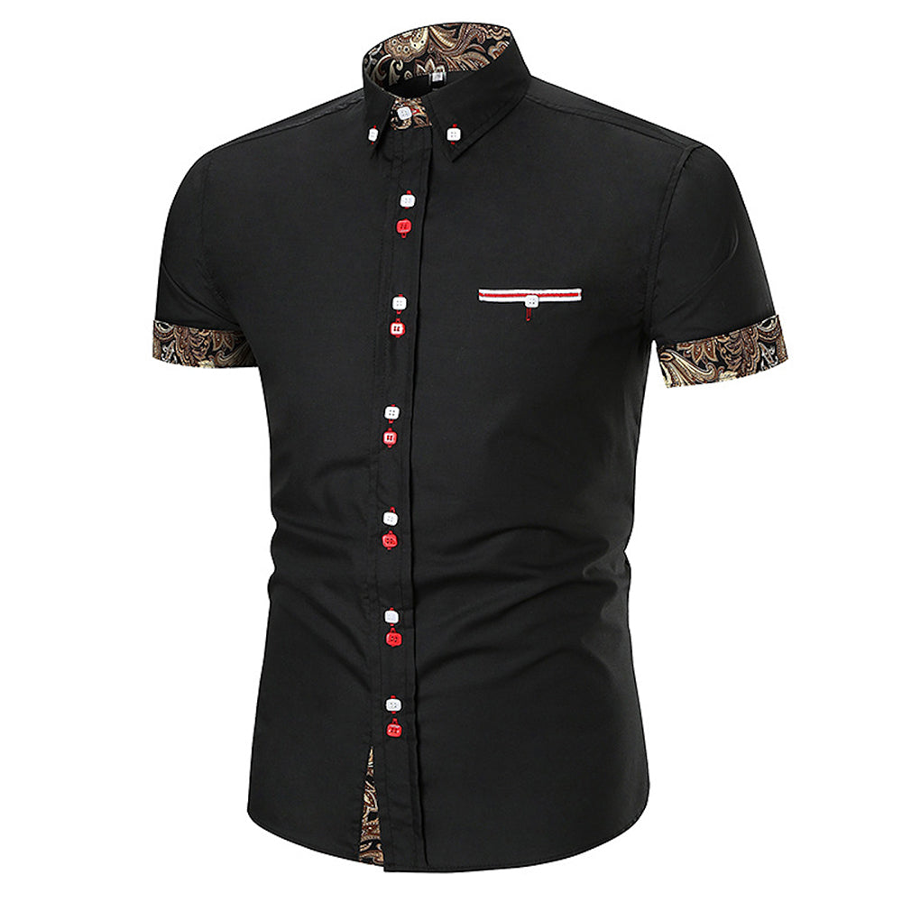 Men's Button down Tailor Fit Soft 100% Cotton Short Sleeve Dress Shirt Black with Black Gold Paisley check casual And Formal