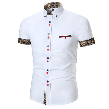 Men's Button down Tailor Fit Soft 100% Cotton Short Sleeve Dress Shirt White with Black Gold Paisley check casual And Formal - Amedeo Exclusive