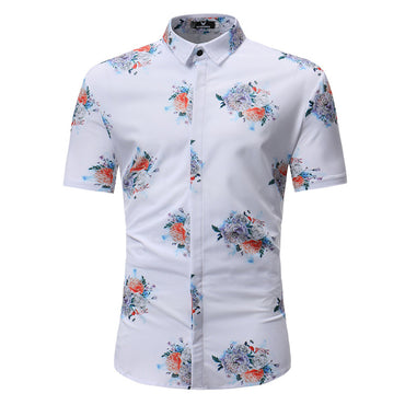 Men's Button down Tailor Fit Soft 100% Cotton Short Sleeve Dress Shirt White with Colorful Floral check casual And Formal