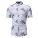Men's Button down Tailor Fit Soft 100% Cotton Short Sleeve Dress Shirt White with Colorful Floral check casual And Formal - Amedeo Exclusive