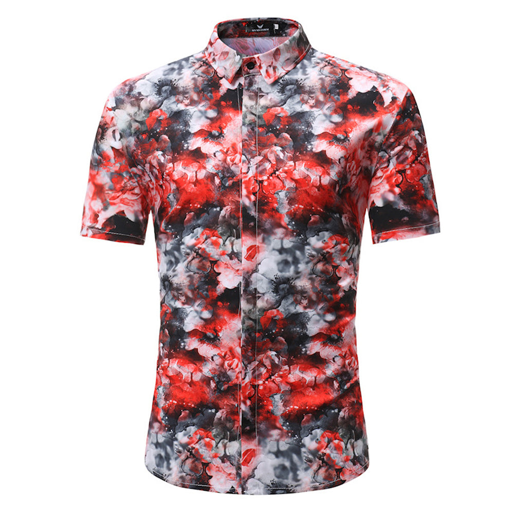 Red Black White Floral Mens Short Sleeve Button up Shirts - Tailored Slim Fit Cotton Dress Shirts - Amedeo Exclusive