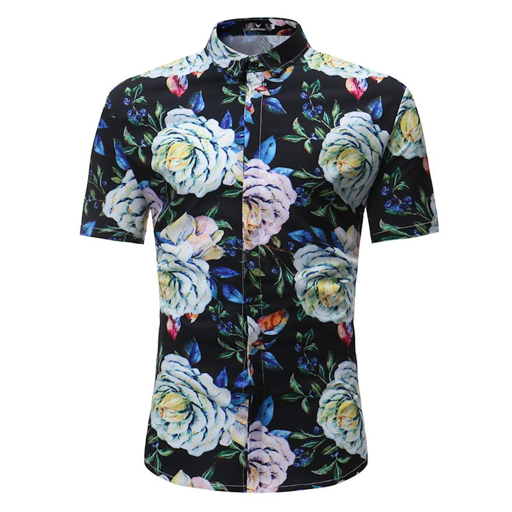 Men's Button down Tailor Fit Soft 100% Cotton Short Sleeve Dress Shirt Black Floral check casual And Formal - Amedeo Exclusive