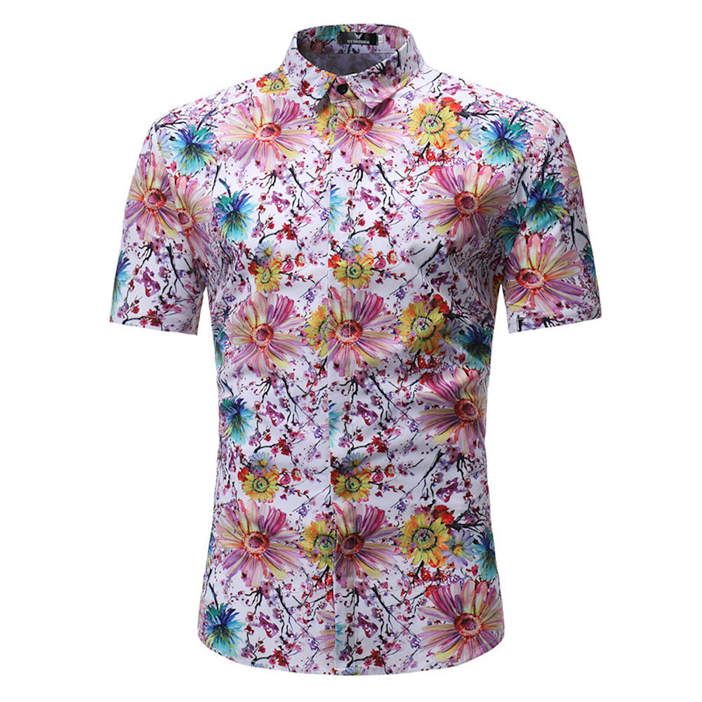 Men's Button down Tailor Fit Soft 100% Cotton Short Sleeve Dress Shirt White Floral check casual And Formal