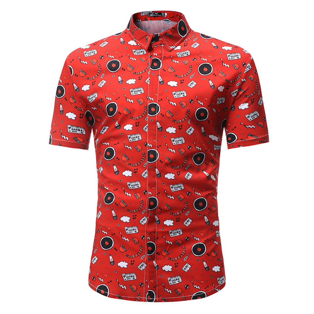 Men's Button down Tailor Fit Soft 100% Cotton Short Sleeve Dress Shirt White Floral casual And Formal