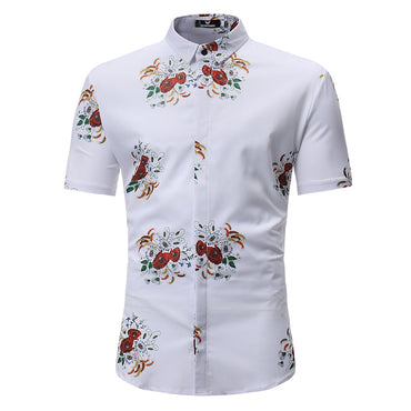Men's Button down Tailor Fit Soft 100% Cotton Short Sleeve Dress Shirt White Floral casual & Formal - Amedeo Exclusive