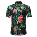 Men's Button down Tailor Fit Soft 100% Cotton Short Sleeve Dress Shirt Black Floral casual And Formal - Amedeo Exclusive