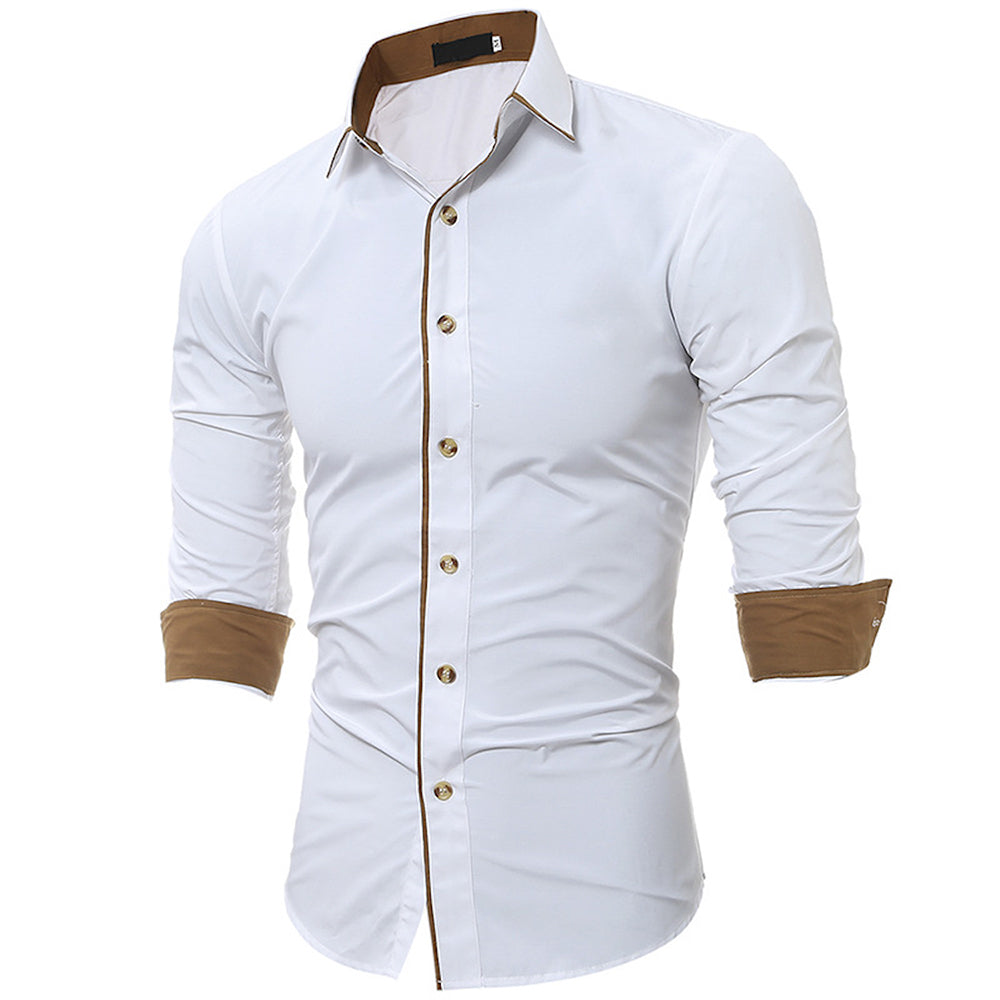 Men's Button down Tailor Fit Soft 100% Cotton Short Sleeve Dress Shirt Solid White with Beige casual And Formal - Amedeo Exclusive