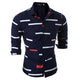 Men's Fashion Navy Blue Slim Fit long Sleeve Shirt
