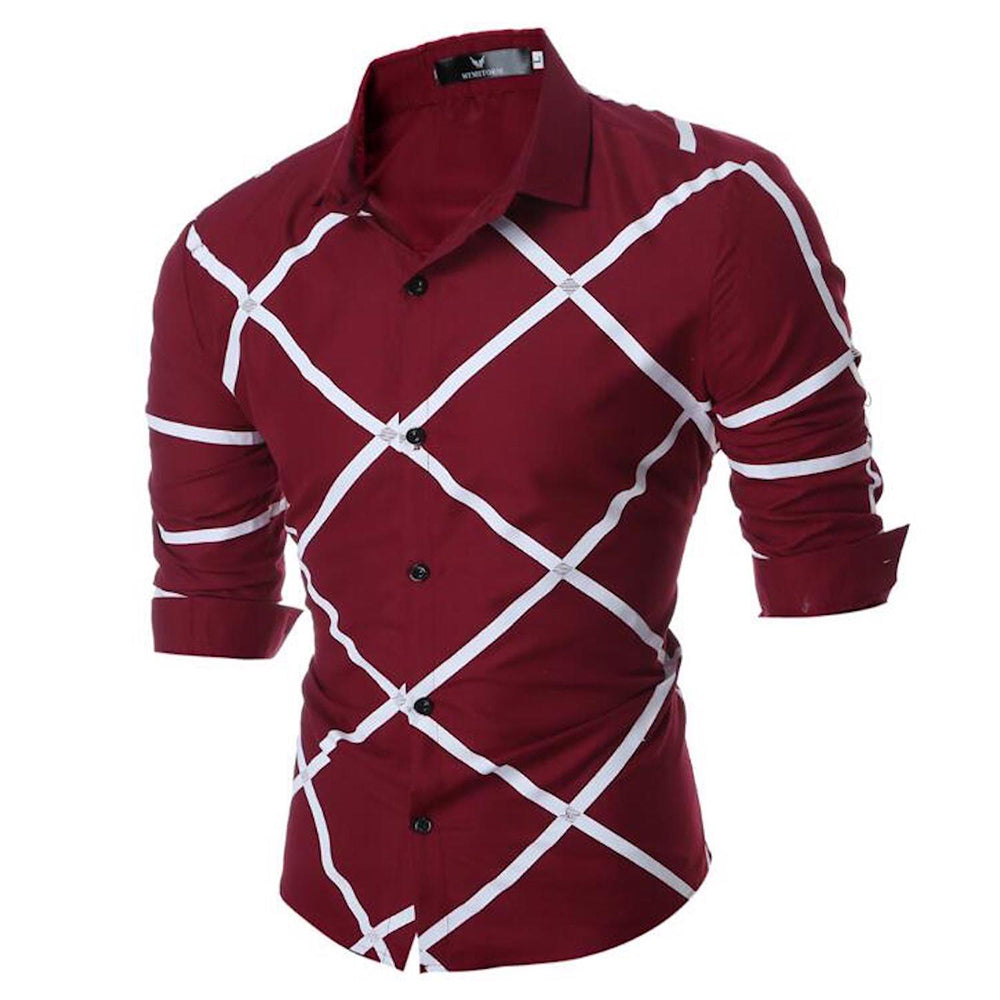 Men's Button down Tailor Fit Soft 100% Cotton Short Sleeve Dress Shirt Burgandy Check casual & Formal - Amedeo Exclusive