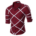 Men's Fashion Slim Fit Burgandy Check Dress Shirt