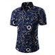 Men's Fashion Navy Blue Chains Slim Fit Short Sleeve Shirt - Amedeo Exclusive