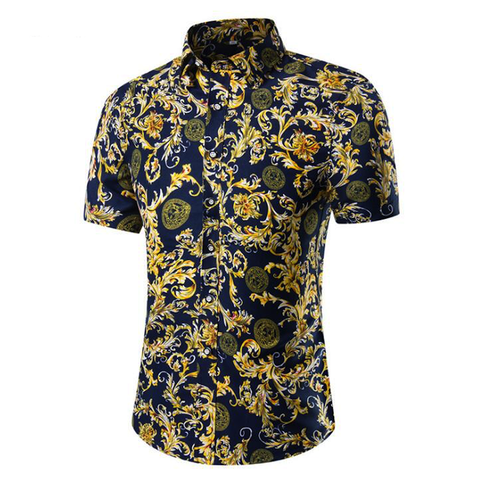 Men's Button down Tailor Fit Soft 100% Cotton Short Sleeve Dress Shirt Navy Blue Paisley casual And Formal