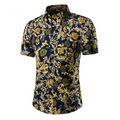 Men's Button down Tailor Fit Soft 100% Cotton Short Sleeve Dress Shirt Navy Blue Paisley casual And Formal - Amedeo Exclusive
