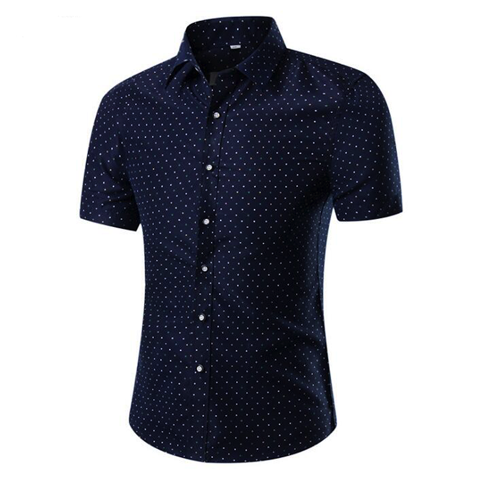 Men's Button down Tailor Fit Soft 100% Cotton Short Sleeve Dress Shirt Blue White Dots casual And Formal - Amedeo Exclusive