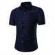 Men's Button down Tailor Fit Soft 100% Cotton Short Sleeve Dress Shirt Blue White Dots casual And Formal