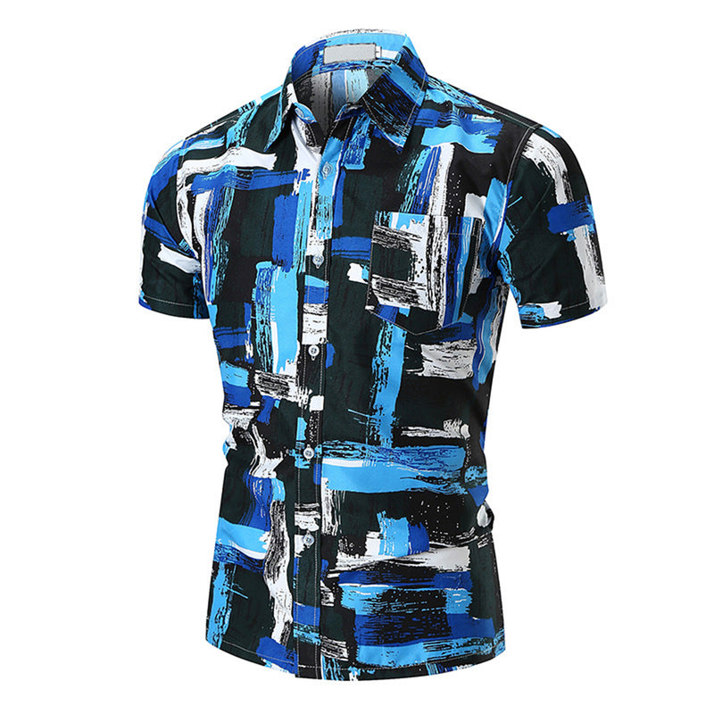Men's Turquoise Blue, Black, White Slim Fit Dress Shirt
