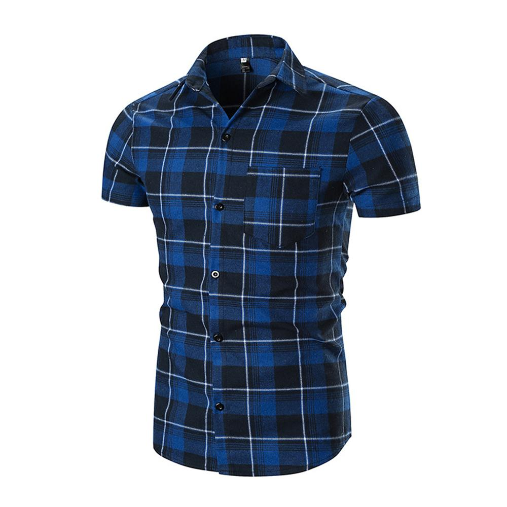 Blue Black Check Mens Short Sleeve Button up Shirts - Tailored Slim Fit Cotton Dress Shirts - Amedeo Exclusive