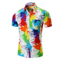 Men's White Multi Color Slim Fit Dress Shirt