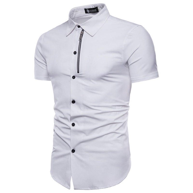 Amedeo Exclusive Men's Short Sleeve Slim Fit White Color Dress Shirt