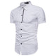 Men's Button down Tailor Fit Soft 100% Cotton Short Sleeve Dress Shirt Light Blue Grey casual And Formal - Amedeo Exclusive