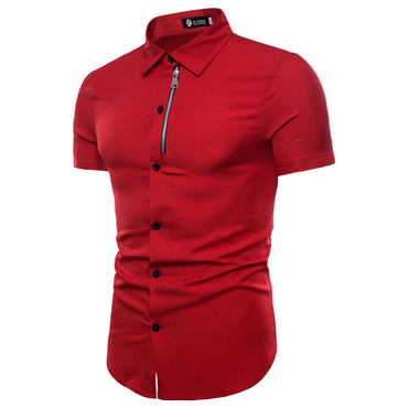 Amedeo Exclusive Men's Short Sleeve Slim Fit Red Color Dress Shirt