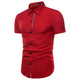 Men's Button down Tailor Fit Soft 100% Cotton Short Sleeve Dress Shirt Red casual And Formal - Amedeo Exclusive
