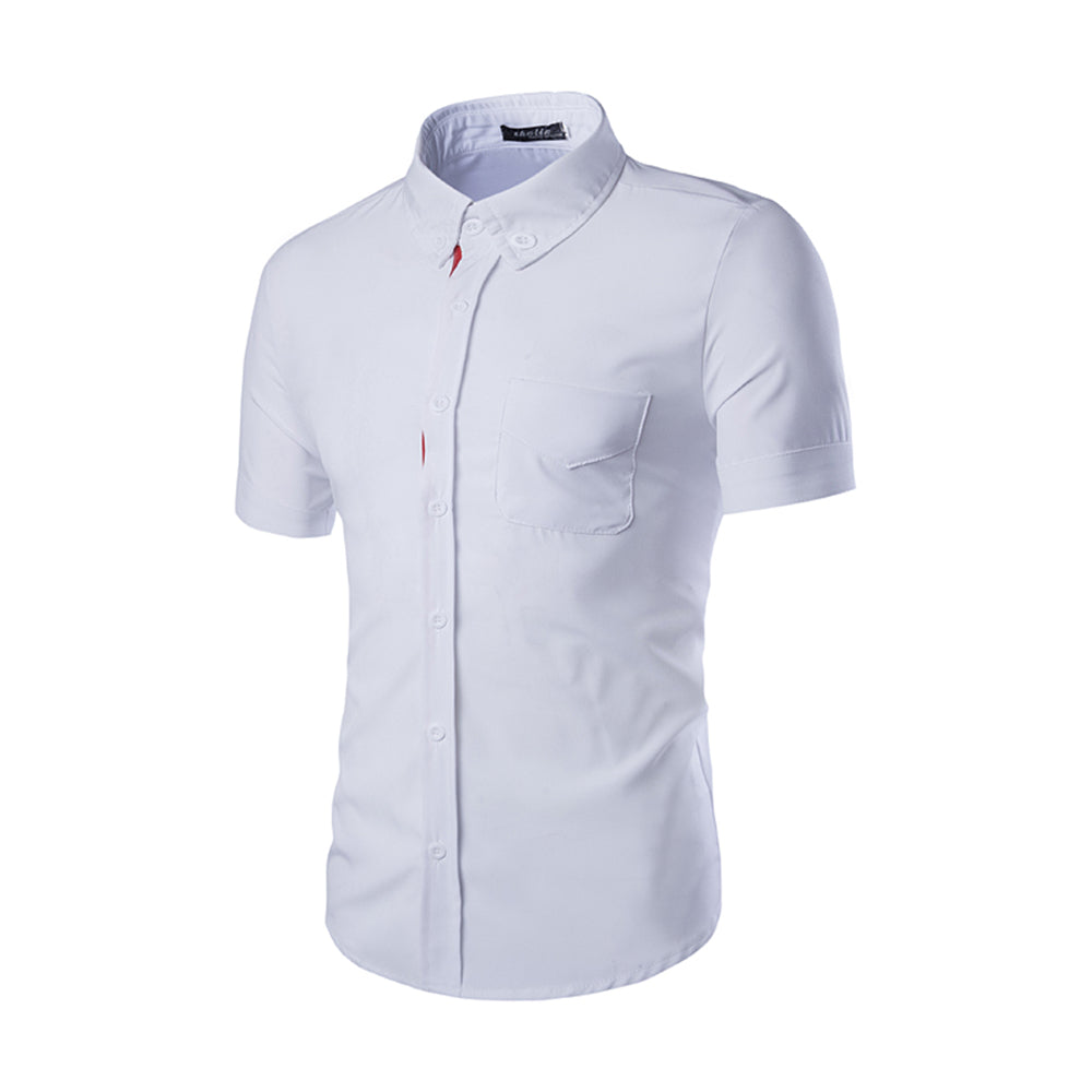 White Mens Short Sleeve Button up Shirts - Tailored Slim Fit Cotton Dress Shirts - Amedeo Exclusive