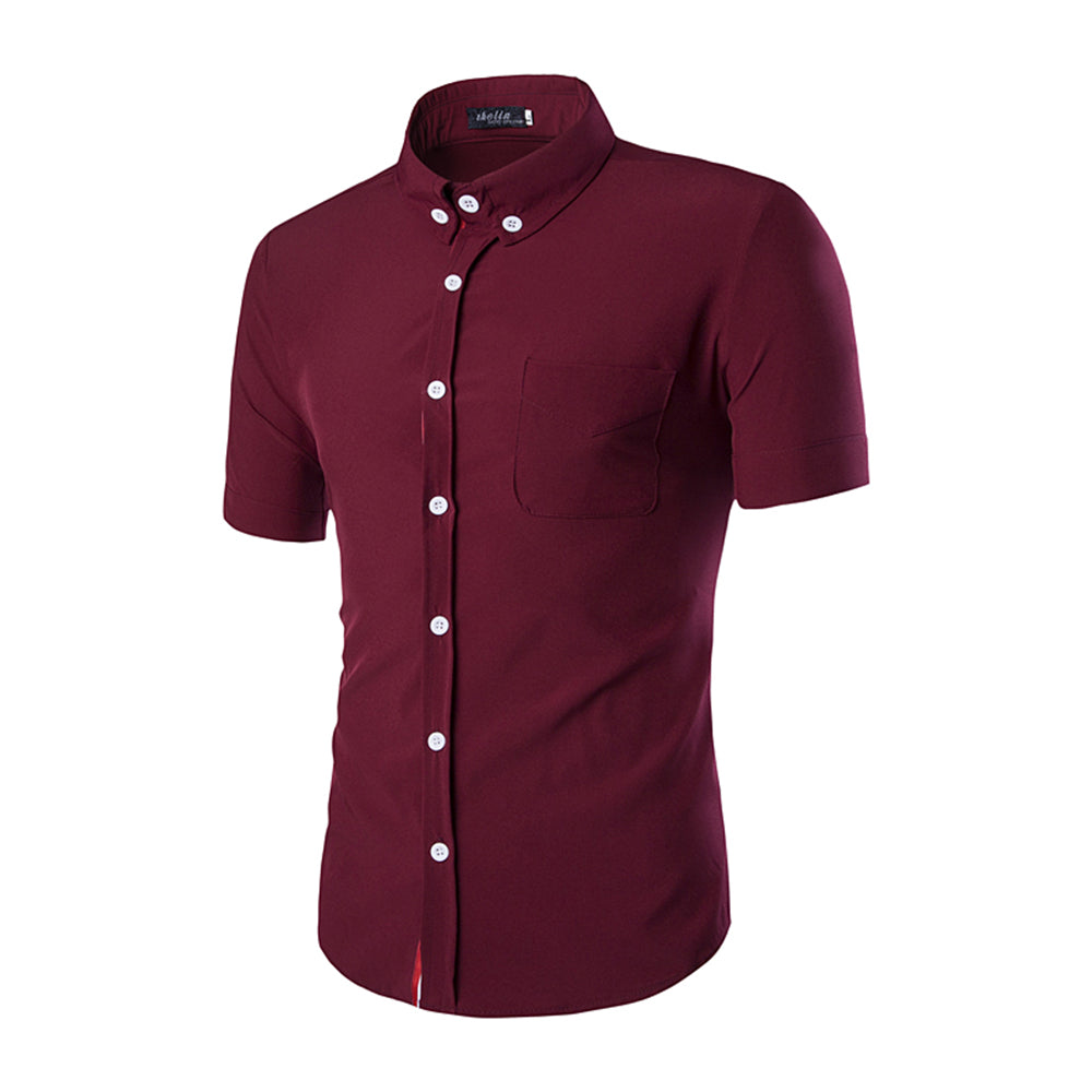 Men's Button down Tailor Fit Soft 100% Cotton Short Sleeve Dress Shirt Burgandy casual And Formal - Amedeo Exclusive