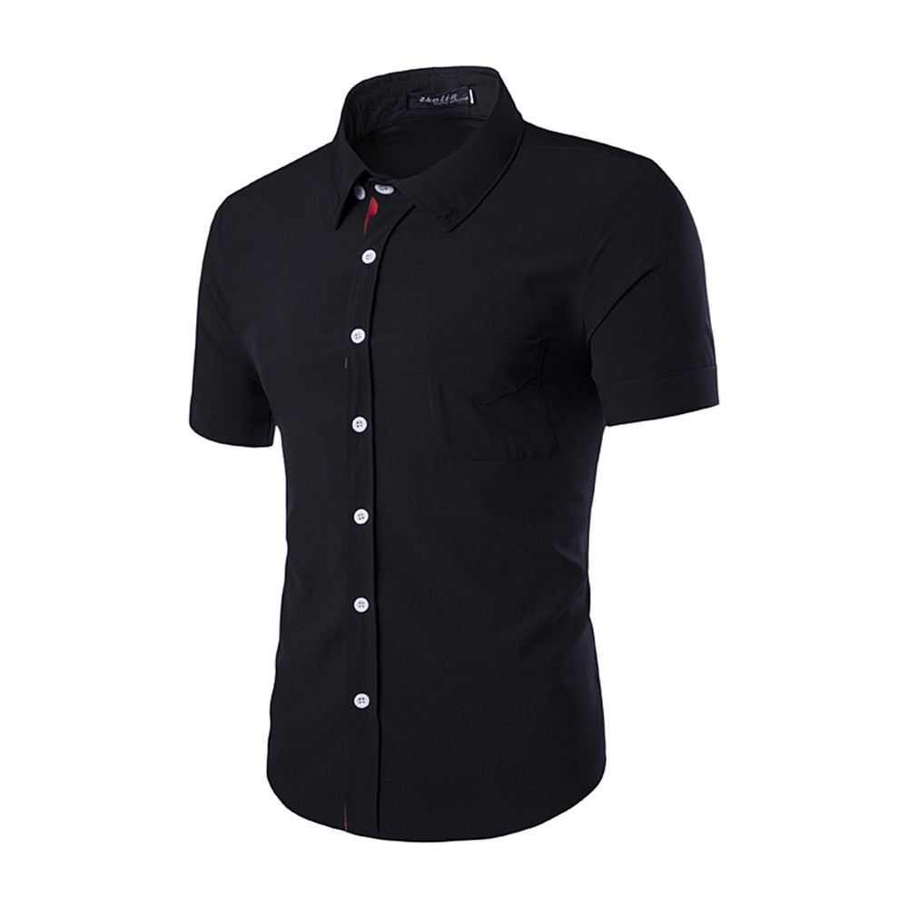 Men's Button down Tailor Fit Soft 100% Cotton Short Sleeve Dress Shirt Black casual And Formal - Amedeo Exclusive