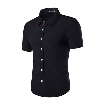 Men's Button down Tailor Fit Soft 100% Cotton Short Sleeve Dress Shirt Black casual And Formal