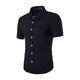 Men's Black Slim Fit Short Sleeve Dress Shirt
