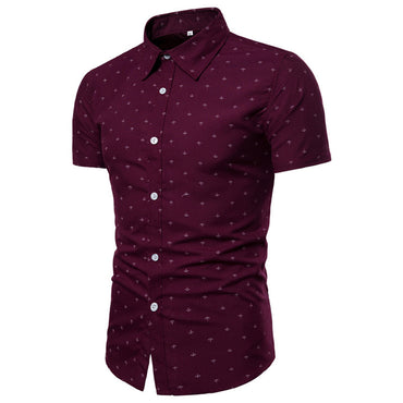 Men's Burgandy Slim Fit Short Sleeve Dress Shirt
