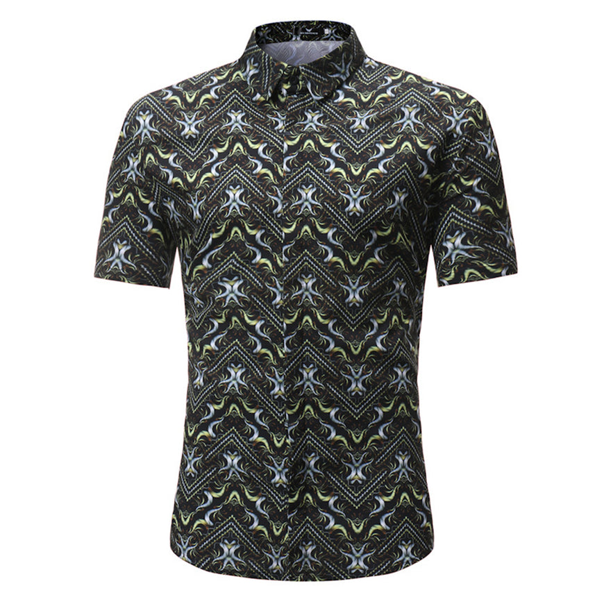 Men's Short Sleeve Slim Fit Multi Color Dress Shirt